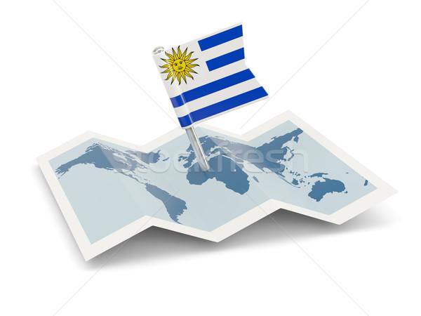 Mapa bandeira Uruguai isolado branco Foto stock © MikhailMishchenko