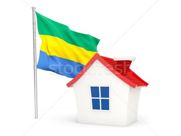дома флаг Габон изолированный белый домой Сток-фото © MikhailMishchenko