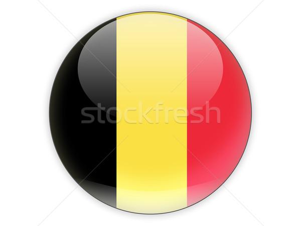 Icono bandera Bélgica aislado blanco viaje Foto stock © MikhailMishchenko