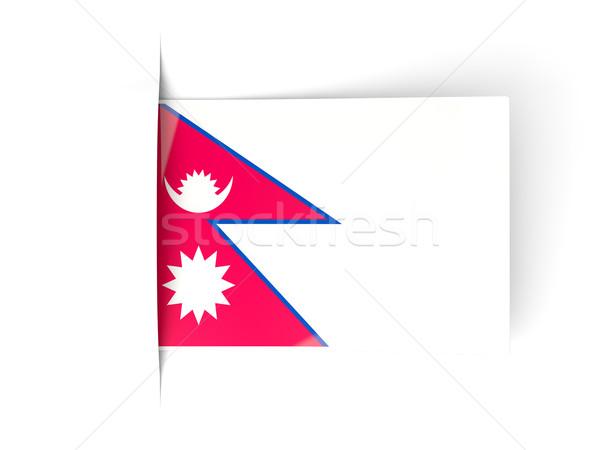 квадратный Label флаг Непал изолированный белый Сток-фото © MikhailMishchenko