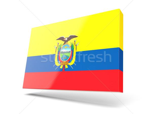 квадратный икона флаг Эквадор изолированный белый Сток-фото © MikhailMishchenko