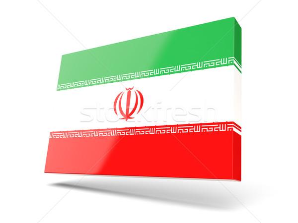 Tér ikon zászló Irán izolált fehér Stock fotó © MikhailMishchenko