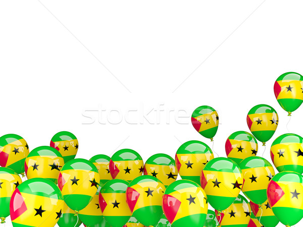 Flying balloons with flag of sao tome and principe Stock photo © MikhailMishchenko