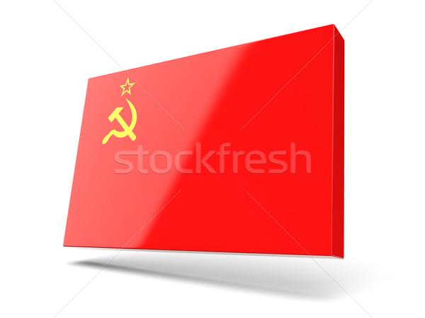 Kare ikon bayrak sscb yalıtılmış beyaz Stok fotoğraf © MikhailMishchenko