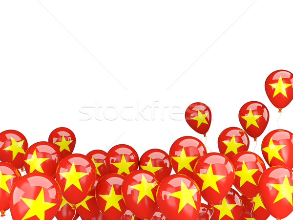 Voador balões bandeira Vietnã isolado branco Foto stock © MikhailMishchenko