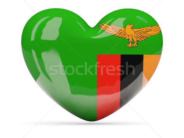 Szív alakú ikon zászló Zambia izolált Stock fotó © MikhailMishchenko