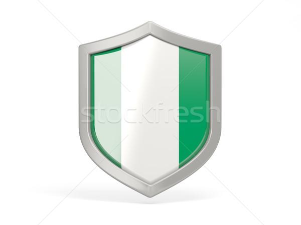 Escudo ícone bandeira Nigéria isolado branco Foto stock © MikhailMishchenko