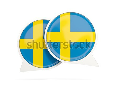 Naklejki banderą Szwecja odizolowany biały podróży Zdjęcia stock © MikhailMishchenko
