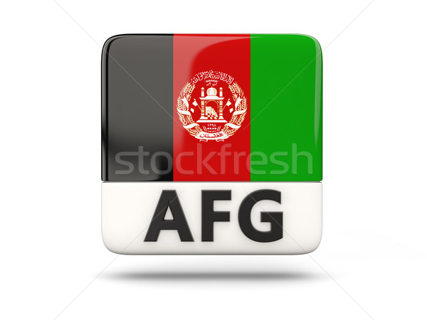 Square icon with flag of afghanistan Stock photo © MikhailMishchenko