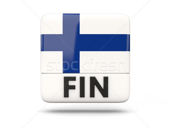 Placu ikona banderą Finlandia iso kodu Zdjęcia stock © MikhailMishchenko