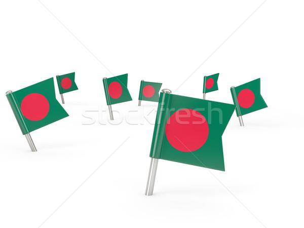 Praça bandeira Bangladesh isolado branco país Foto stock © MikhailMishchenko