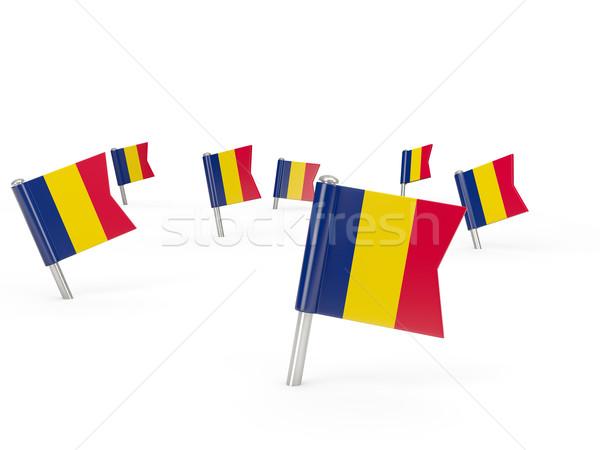 Cuadrados bandera Chad aislado blanco país Foto stock © MikhailMishchenko