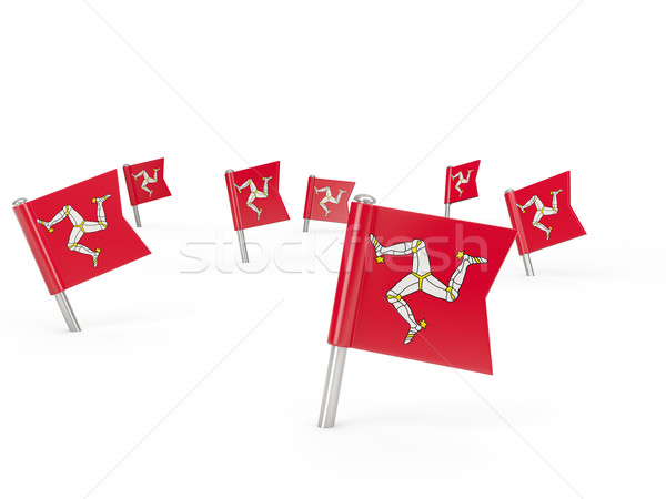 Square pins with flag of isle of man Stock photo © MikhailMishchenko