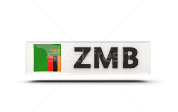 квадратный икона флаг Замбия iso Код Сток-фото © MikhailMishchenko