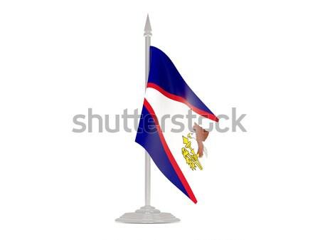 Сток-фото: флаг · Камбоджа · флагшток · 3d · визуализации · изолированный · белый