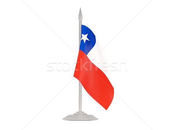 Bandera Chile asta de bandera 3d aislado blanco Foto stock © MikhailMishchenko