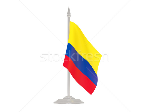 флаг Колумбия флагшток 3d визуализации изолированный белый Сток-фото © MikhailMishchenko
