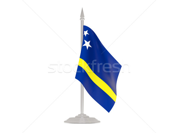Flag of curacao with flagpole. 3d render Stock photo © MikhailMishchenko