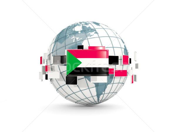 Wereldbol vlag geïsoleerd witte 3d illustration planeet Stockfoto © MikhailMishchenko