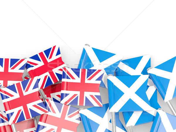 Flag pins of United Kingdom and Scotland isolated on white Stock photo © MikhailMishchenko