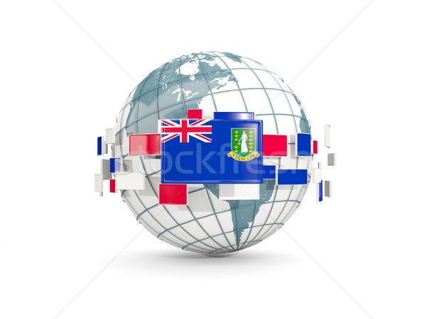 Wereldbol vlag maagd eilanden brits geïsoleerd Stockfoto © MikhailMishchenko