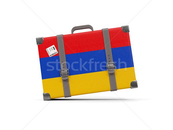 荷物 フラグ アルメニア スーツケース 孤立した 白 ストックフォト © MikhailMishchenko