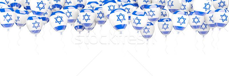 Léggömbök keret zászló Izrael izolált fehér Stock fotó © MikhailMishchenko