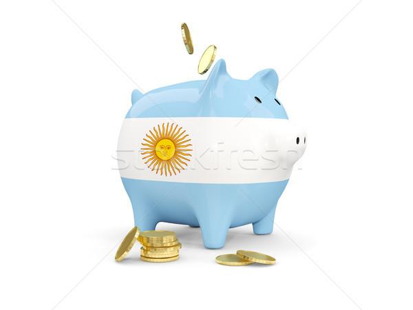 жира Piggy Bank Аргентина деньги изолированный белый Сток-фото © MikhailMishchenko