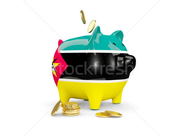 Gordura piggy bank Moçambique dinheiro isolado branco Foto stock © MikhailMishchenko