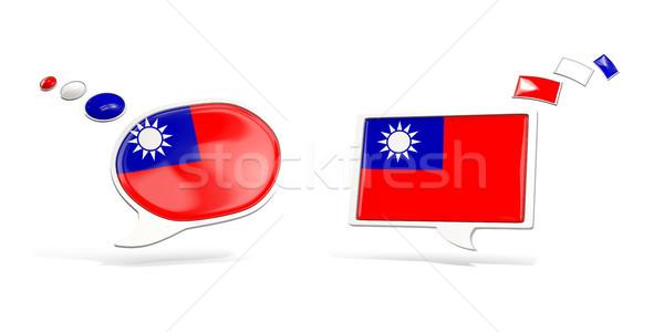 Dwa chat ikona banderą Tajwan placu Zdjęcia stock © MikhailMishchenko