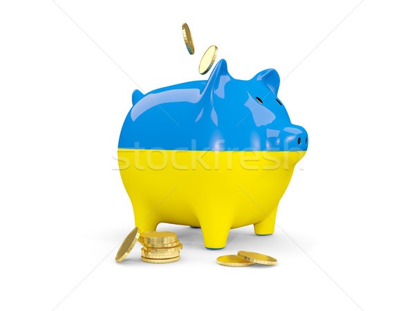 Fat piggy bank with fag of ukraine Stock photo © MikhailMishchenko