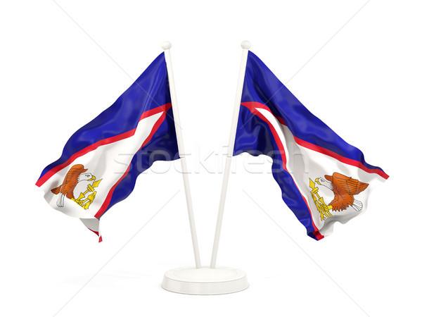Dois bandeiras Samoa Americana isolado branco Foto stock © MikhailMishchenko
