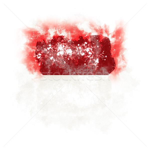 Сток-фото: квадратный · Гранж · флаг · Индонезия · 3d · иллюстрации · ретро