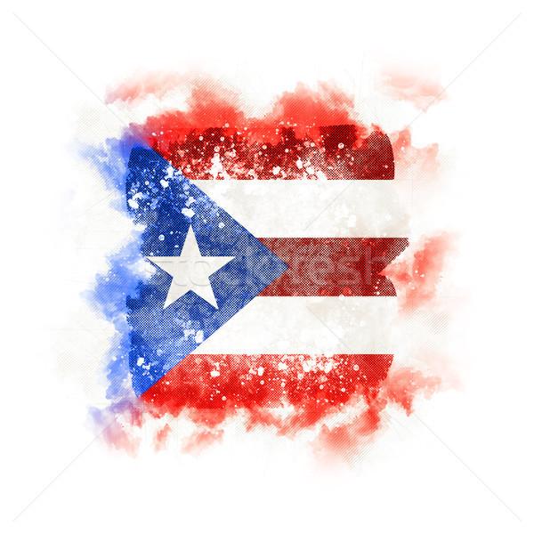 Vierkante grunge vlag Puerto Rico 3d illustration retro Stockfoto © MikhailMishchenko