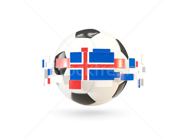 Soccer ball with line of flags. Flag of iceland Stock photo © MikhailMishchenko