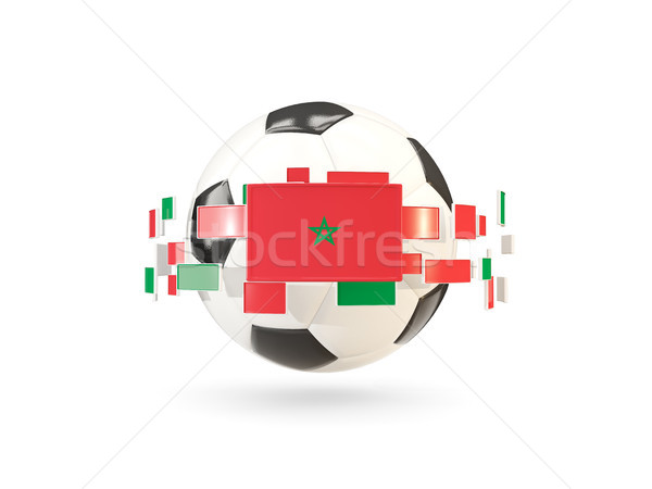 Soccer ball with line of flags. Flag of morocco Stock photo © MikhailMishchenko