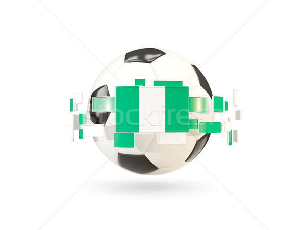 Soccer ball with line of flags. Flag of nigeria Stock photo © MikhailMishchenko