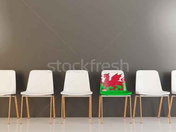 Sandalye bayrak galler beyaz sandalye Stok fotoğraf © MikhailMishchenko