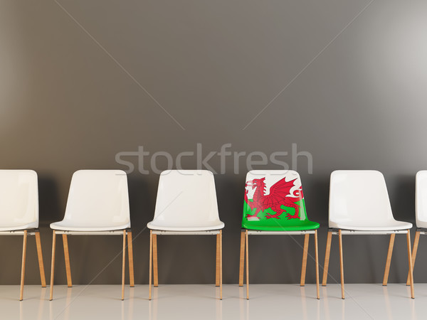 Stoel vlag wales rij witte stoelen Stockfoto © MikhailMishchenko