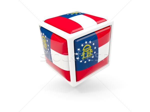 georgia state flag in cube icon. United states local flags Stock photo © MikhailMishchenko