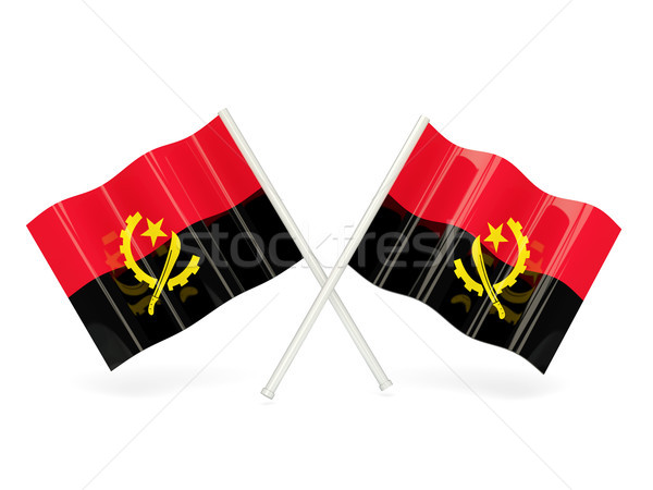 Bayrak Tiftik dokuma iki dalgalı bayraklar yalıtılmış Stok fotoğraf © MikhailMishchenko