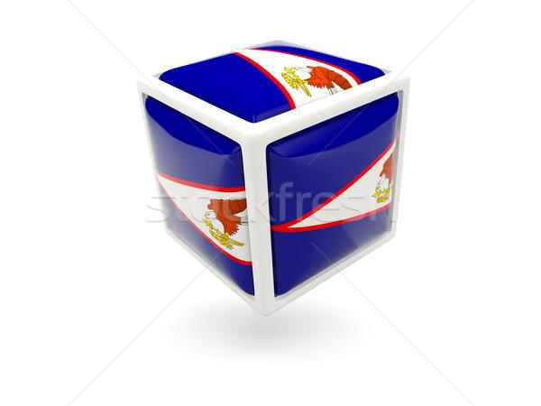 Bandeira Samoa Americana cubo ícone isolado branco Foto stock © MikhailMishchenko