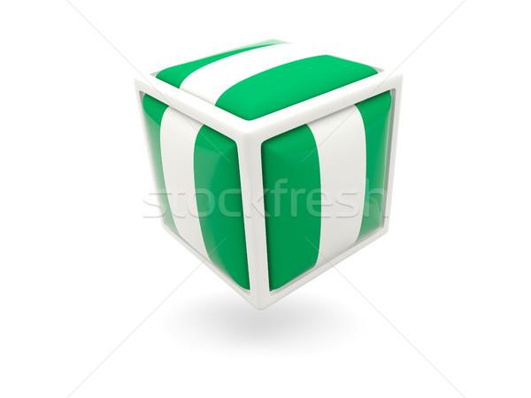 Bandeira Nigéria cubo ícone isolado branco Foto stock © MikhailMishchenko