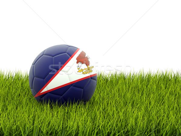 Futebol bandeira Samoa Americana grama verde futebol campo Foto stock © MikhailMishchenko