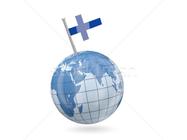 Földgömb zászló Finnország kék izolált fehér Stock fotó © MikhailMishchenko