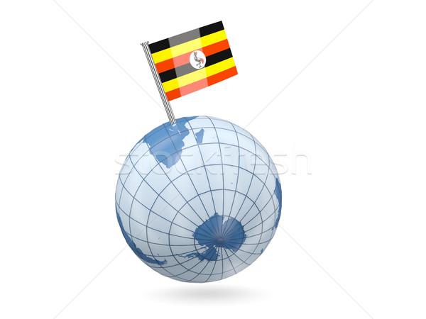 Dünya bayrak Uganda mavi yalıtılmış beyaz Stok fotoğraf © MikhailMishchenko