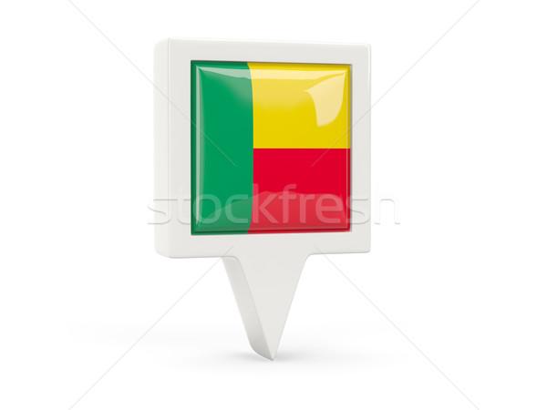 Piazza bandiera icona Benin isolato bianco Foto d'archivio © MikhailMishchenko