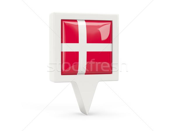 Vierkante vlag icon Denemarken geïsoleerd witte Stockfoto © MikhailMishchenko