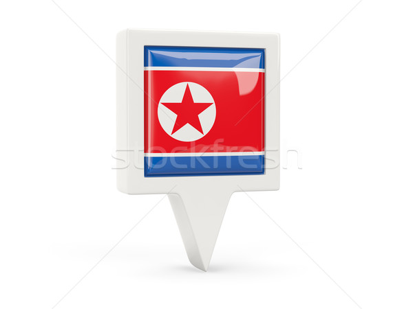 Square flag icon of north korea Stock photo © MikhailMishchenko