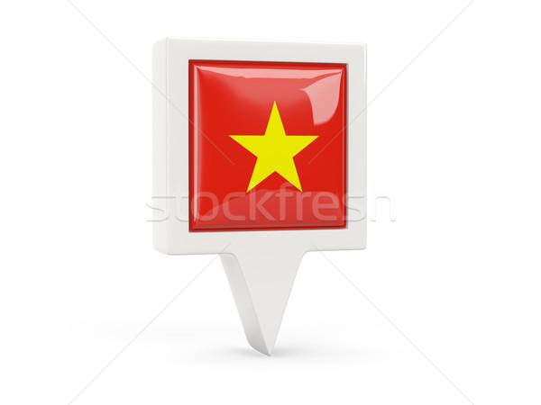 квадратный флаг икона Вьетнам изолированный белый Сток-фото © MikhailMishchenko